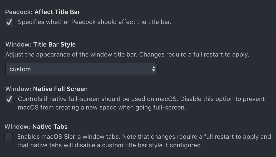 Title Bar Settings